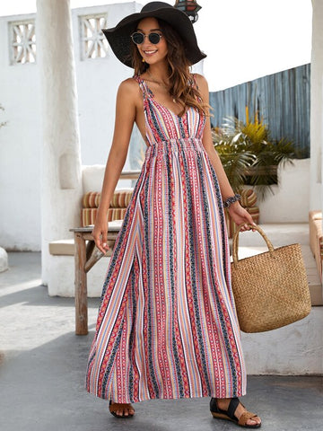 Striped Shirred Waist Backless Cami Dress