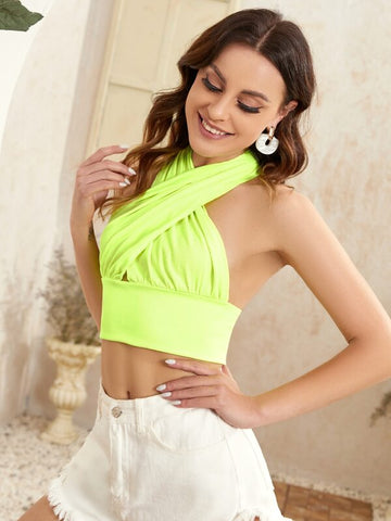 Neon Green Cross Wrap Halter Top