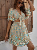Floral Print Tie Front Peekaboo Butterfly Sleeve A-line Dress