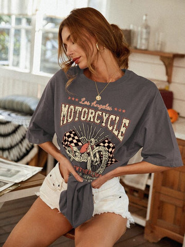 Motorcycle And Slogan Graphic Oversized Tee