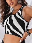 Racerback Zebra Striped Knit Top