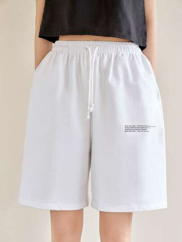 Slogan Graphic Slant Pocket Track Shorts