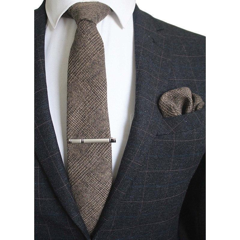 High Quality Cravats Cashmere Tie and Handkerchief Set Suit