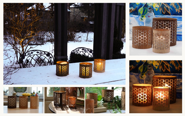 a selection of mid-century modern lanterns