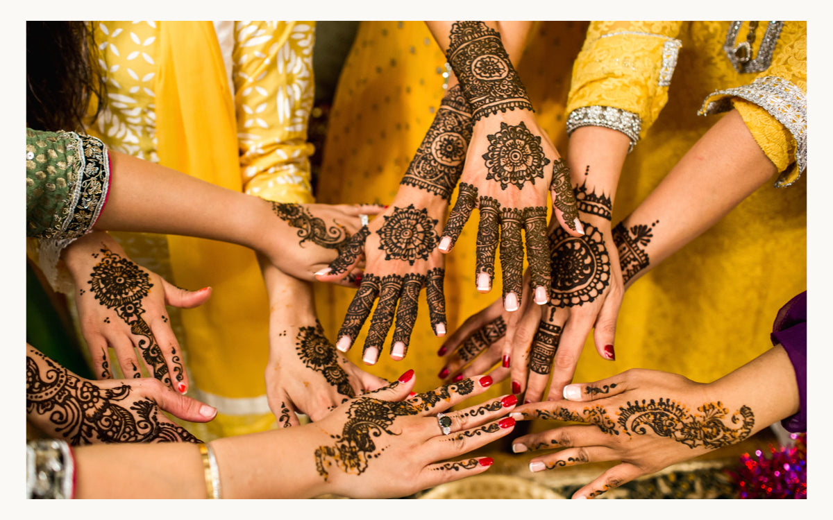 Mehndi designs, henna tattoos, and  of Ganesha a Hindi deity. Mehndi is a form of body art and skin decoration usually drawn on hands or legs and is temporary