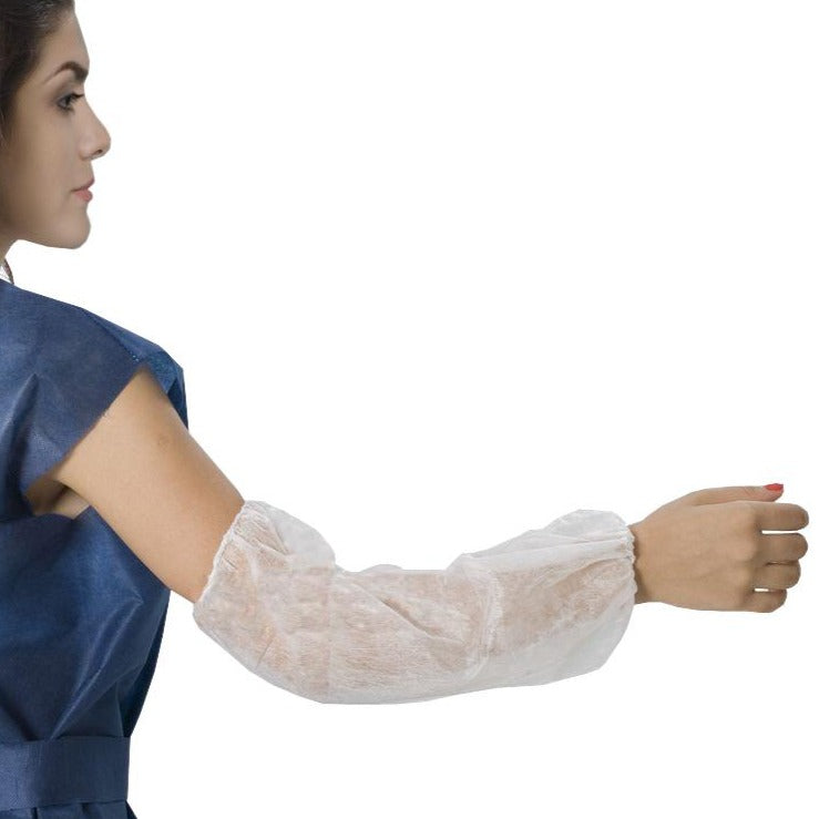 Non-woven sleeves with elastic cuff
