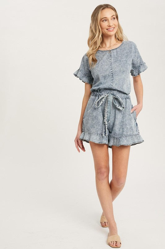 Acid Wash Denim Romper