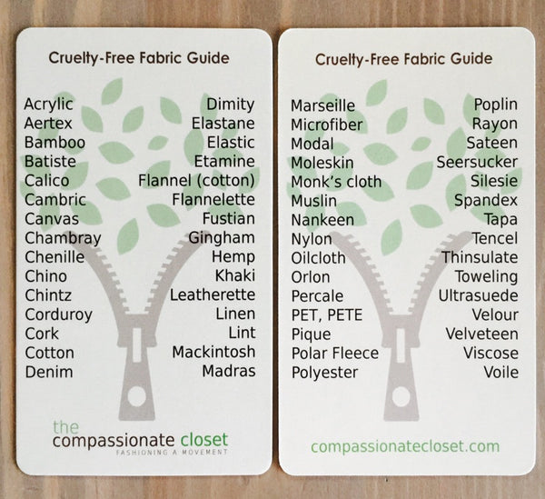 Compassionate Closet Cruelty-Free Fabric Guide, featured in a blog post by EcoGoodz, used clothing bulk supplier