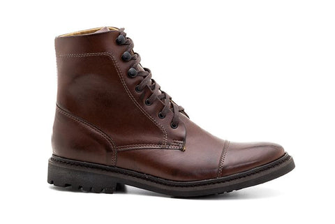 Ahimsa Men's Work Boot in Cognac (right)