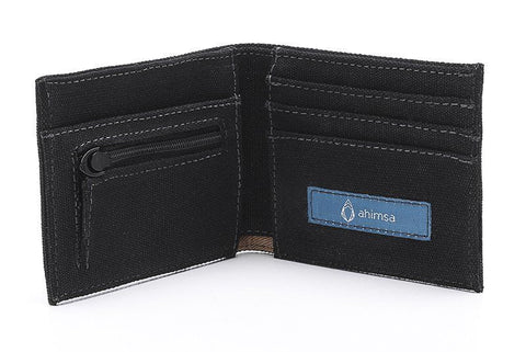 Ahimsa Zipped Wallet in Black (open)