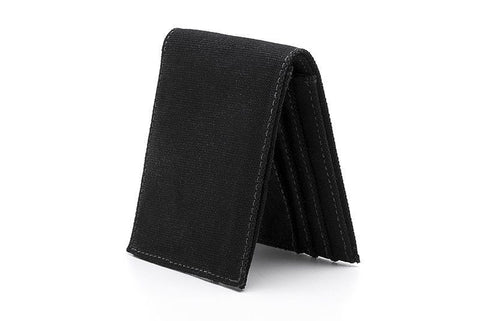 Ahimsa Zipped Wallet in Black (standing)