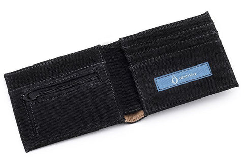 Ahimsa Zipped Wallet in Black (wide open)
