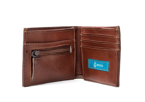 Ahimsa Zipped Wallet in Cognac (open)