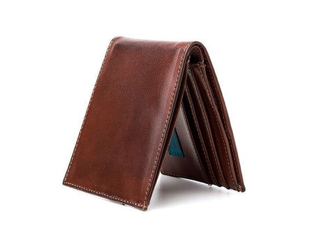 Ahimsa Zipped Wallet in Cognac (standing)