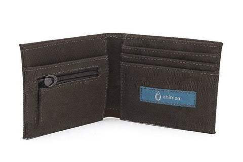 Ahimsa Zipped Wallet in Espresso (open)