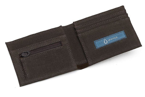 Ahimsa Zipped Wallet in Espresso (wide open)