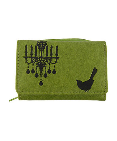 Compassionate Closet: Bird & Chandelier Vegan Leather Wallet Small Green