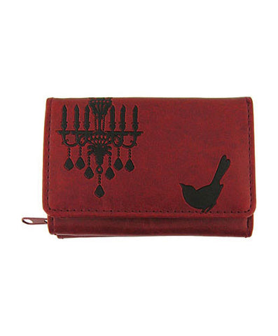 Compassionate Closet: Bird & Chandelier Vegan Leather Wallet Small Red