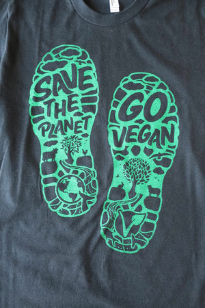 Save the Planet, Go Vegan Unisex T-Shirt by Compassionate Closet - Compassionate Closet