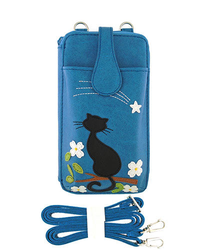 Cat Applique Large Cell Phone Wallet Mini Bag by Lavishy - Compassionate Closet
