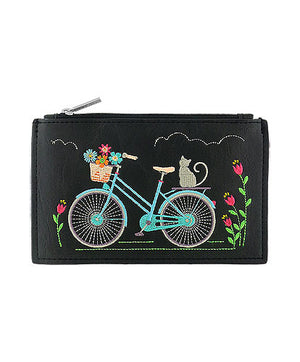 Cat on Bicycle Embroidered Vegan Flat Pouch by Lavishy - Compassionate Closet