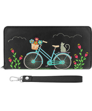 Cat on Bicycle Embroidered Wristlet Wallet by Lavishy - Compassionate Closet