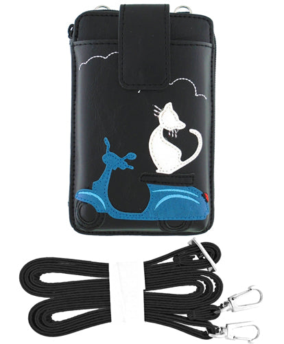 Cat on Scooter Cell Phone Wallet by Lavishy - Compassionate Closet