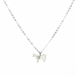 Cow with Heart Necklace by Christy Robinson Designs - Compassionate Closet