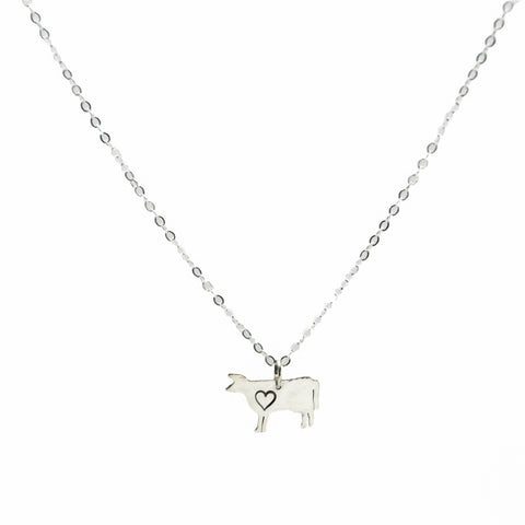 Cow with Heart Sterling Necklace