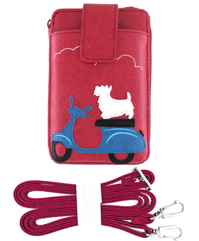 Dog on Scooter Cell Phone Wallet Red