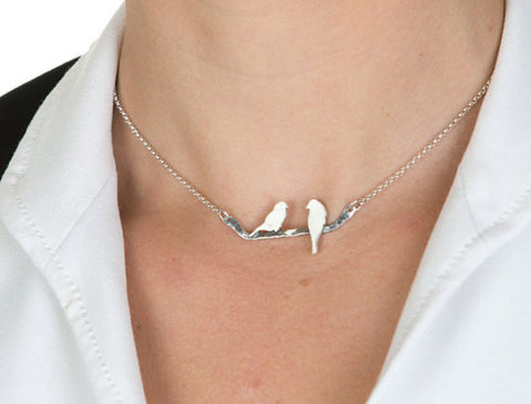 Perched Love Birds Necklace worn