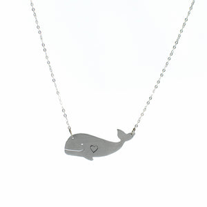 Happy Heart Whale Recycled Aluminum Necklace by Christy Robinson Designs - Compassionate Closet