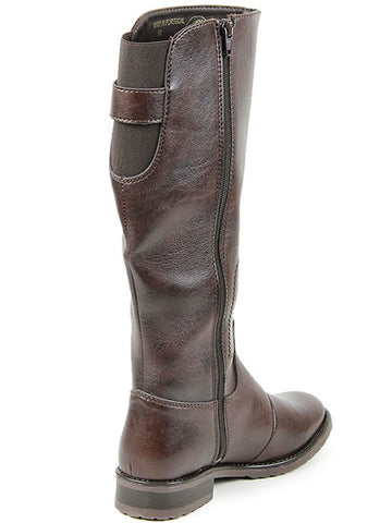 Knee High Riding Boots Dark Brown Zipper