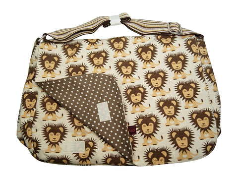 Lion Print Large Flap Messenger Bag