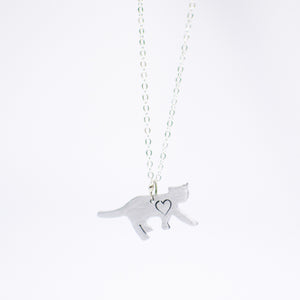Mini Cat with Heart Necklace by Christy Robinson Designs - Compassionate Closet