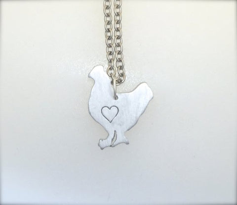 Mini Chicken with Heart Necklace by Christy Robinson Designs - Compassionate Closet