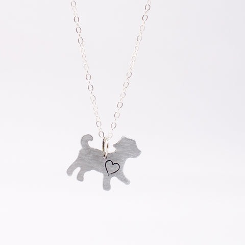Mini Dog with Heart Recycled Aluminum Necklace by Christy Robinson Designs - Compassionate Closet