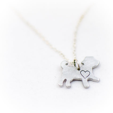 Compassionate Closet: Mini Dog with Heart' Necklace
