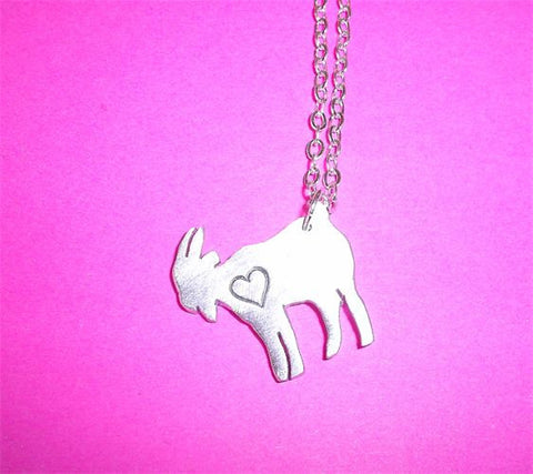 Mini Goat with Heart Necklace by Christy Robinson Designs - Compassionate Closet