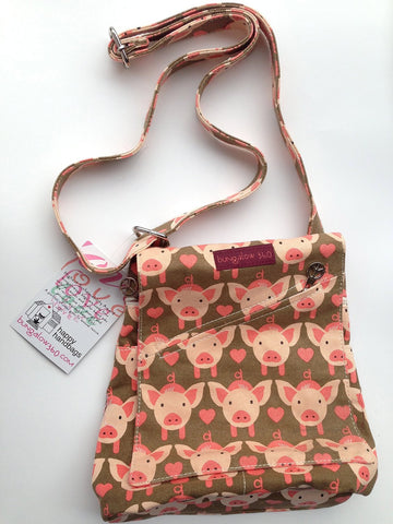 Pig Print Mini Messenger Bag