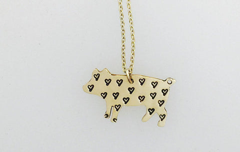 Mini Pig Love Yellow 14Kt Gold-Filled Necklace by Christy Robinson Designs - Compassionate Closet
