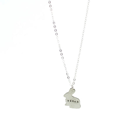 Mini Vegan Bunny Sterling Necklace by Christy Robinson Designs - Compassionate Closet