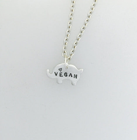 Mini Vegan Elephant w Heart Necklace by Christy Robinson Designs - Compassionate Closet