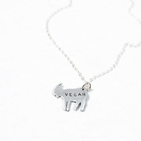 Mini Vegan Goat Recycled Aluminum Necklace by Christy Robinson Designs - Compassionate Closet