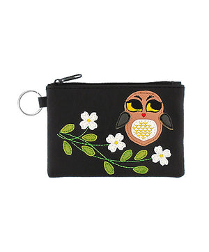 Owl Applique Vegan Leather Keyring Coin Purse by Lavishy - Compassionate Closet