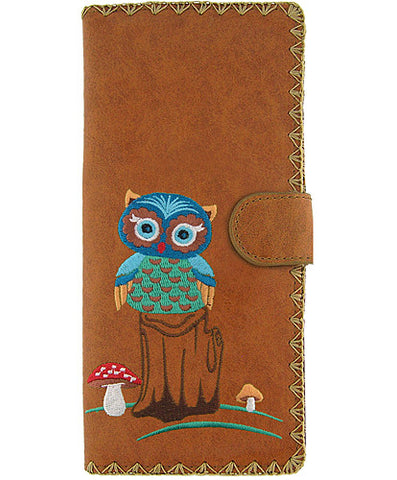 Owl vegan leather large wallet with embroidery Brown