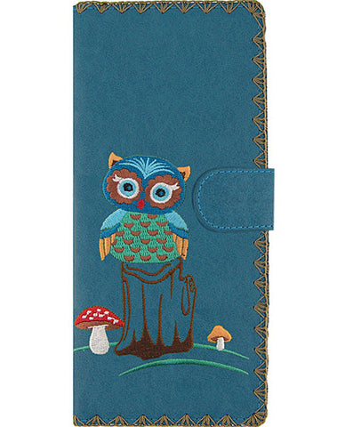 Owl vegan leather large wallet with embroidery Blue