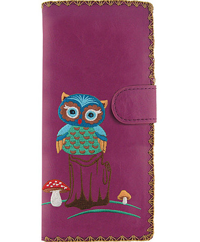 Owl vegan leather large wallet with embroidery Lavender