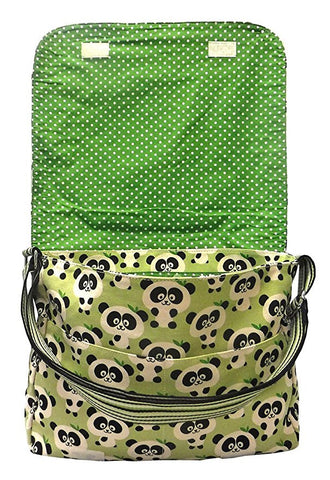 Panda Print Large Flap Messenger Bag interior