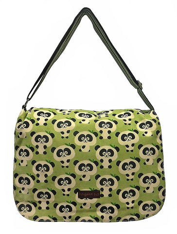 Panda Print Large Flap Messenger Bag